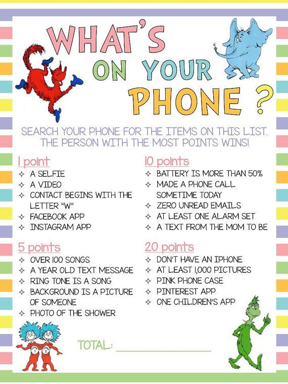 Dr. Seuss Themed What's On Your Phone Game by AmandasCreativity