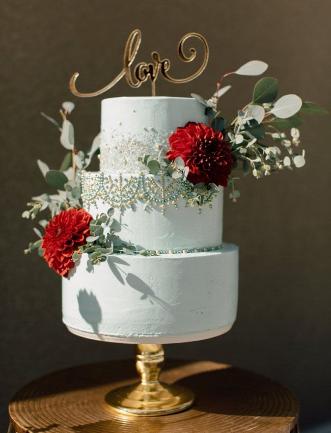A Mint Green and Red Indian Inspired Cake
