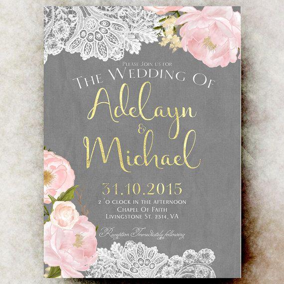 Gold blush pink grey Wedding Invitation   by RavishingInvitations