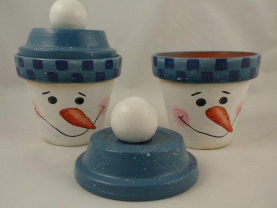 snowman painted pot