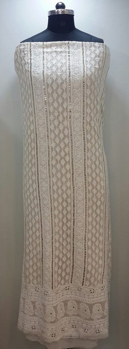 Lucknow Chikan Online Suit Length 2 piece white on white pure georgette with very fine chikankari murri, shadow, kaamdani, kangan & mukaish work with full embroidered sleeves & embroidered dupatta  $203