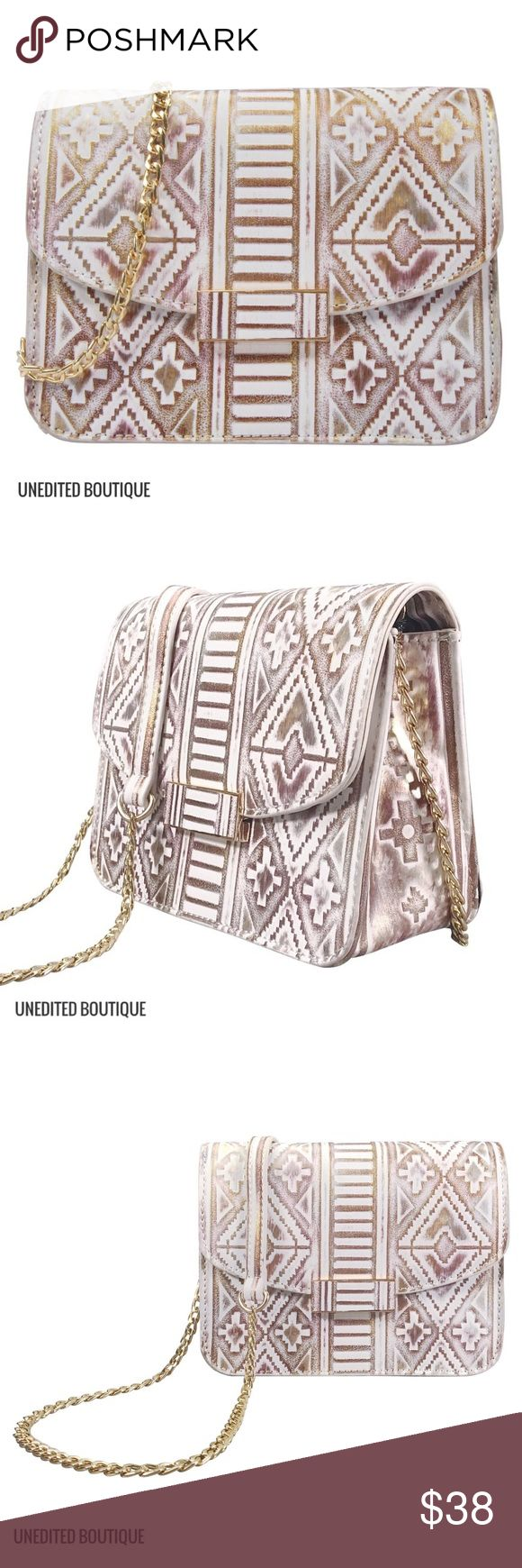 Indie Painted Crossbody This stunning geometric shape painted indie Crossbody is hand designed in Los Angeles California using premium vegan leather and is finished off with a fully lined interior and gold chain with leather Shoulder piece. OFFERS NOT ACCEPTED  LOWEST PRICES LISTED MMS Design Studio Bags Crossbody Bags