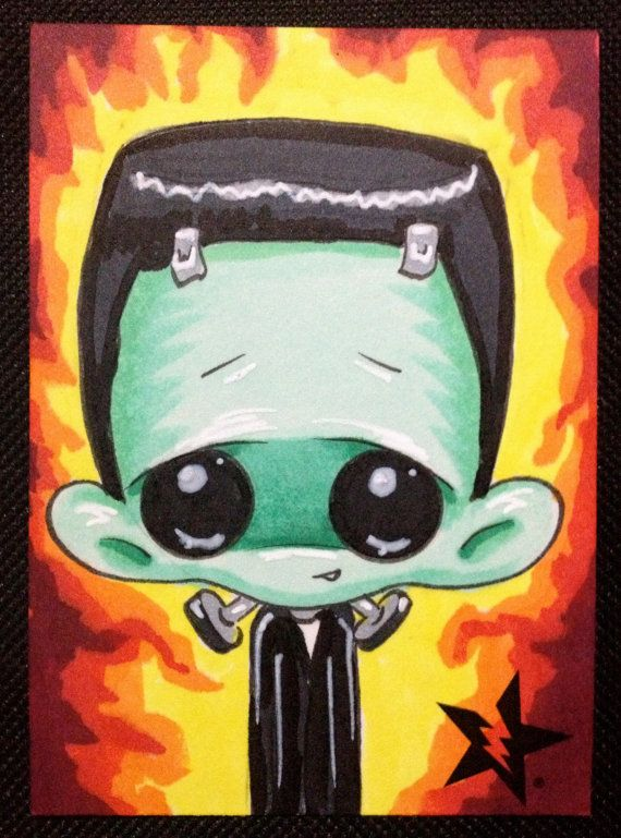 Sugar Fueled Frankenstein Universal Monster Horror lowbrow creepy cute big eye ACEO mini print