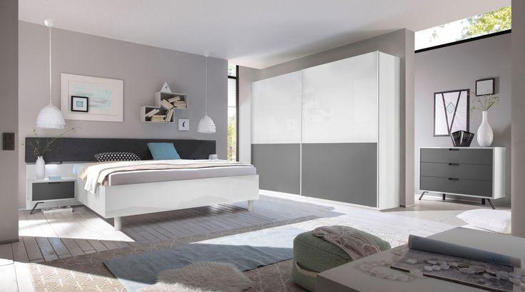 LC Schlafzimmer-Set (4-tlg) weiß, Schwebetürenschrank Breite 220 - günstige komplett schlafzimmer