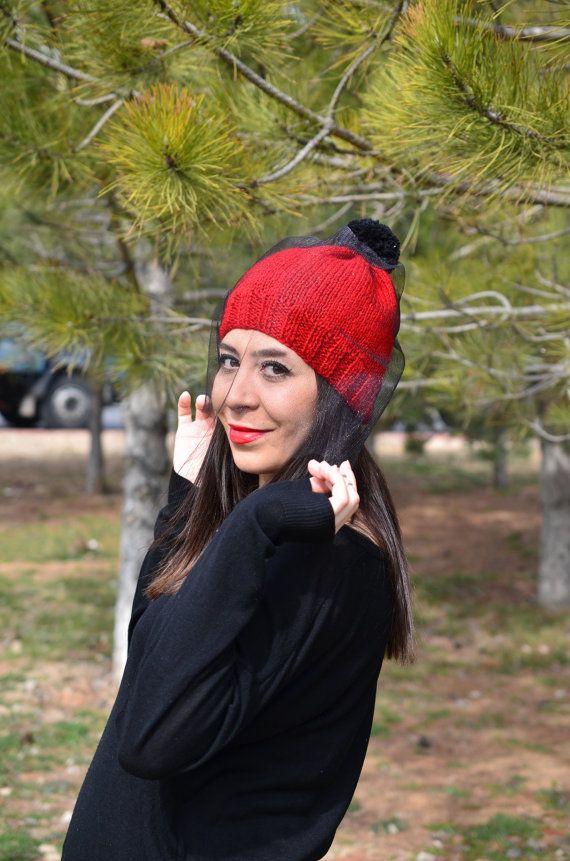 Beanie Hat with Veil Veiled Beanie Hat Rihanna Cara by pompomhats