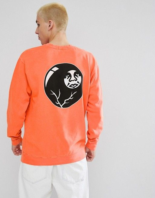 Obey Sweatshirt With 8 Ball Icon Back Print In Orange