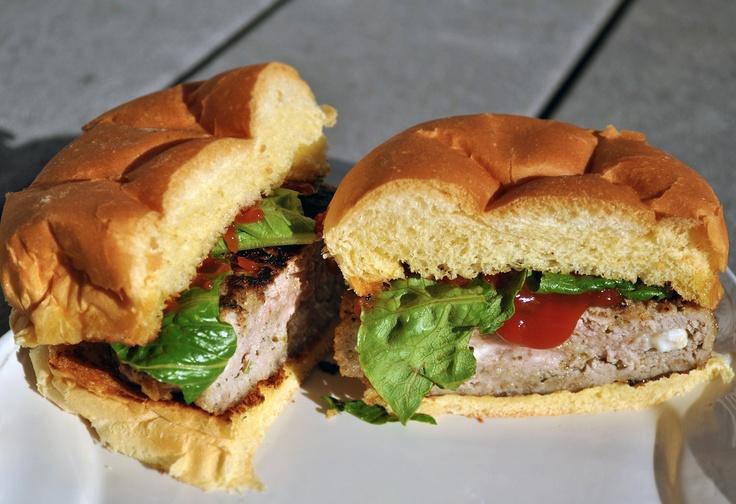 Made these great Turkey/Pesto/Feta burgers yesterday. Real good.   I recommend. (Photo by Chris Fjelde)    http://omaskitchen.wordpress.com/2012/04/04/chris-turkey-burgers-with-pesto/
