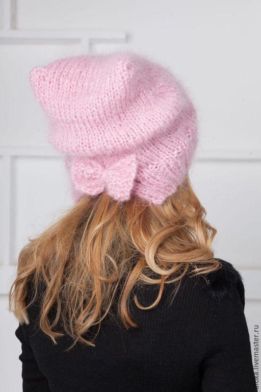 Купить Шапка из нежного мохера - розовый, берет, берет спицами, вязаный берет, теплый берет
