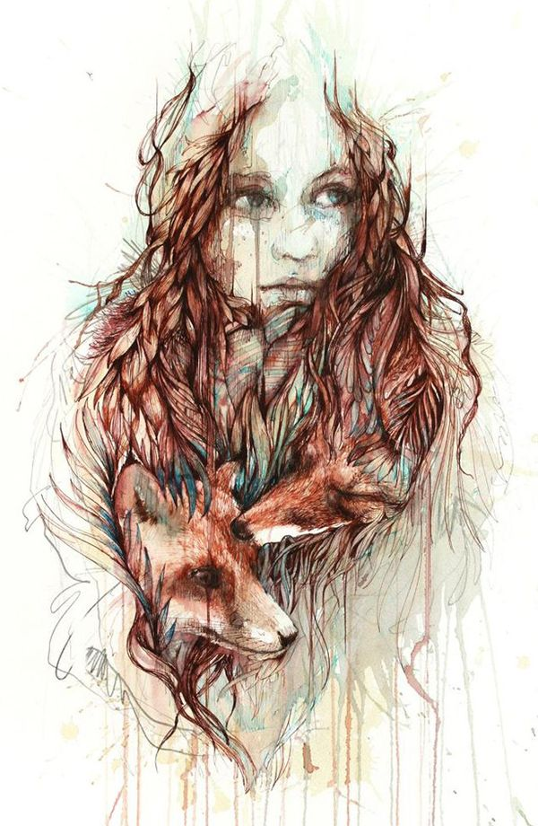 Comfort | Carne Griffiths | Paintings made by tea and ink, creating a journey of escapism which focuses on scenes of awe and wonder, projecting a sense of abandonment and inviting the viewer to share and explore this inner realm