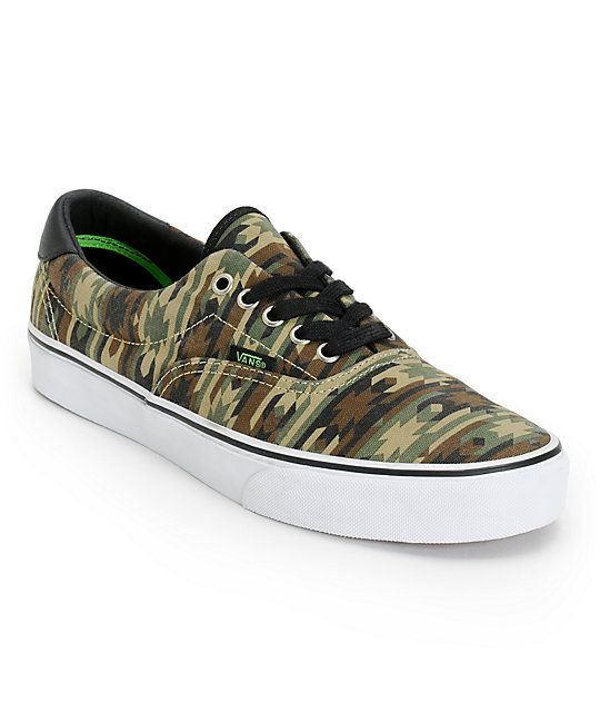 """It all starts with your kicks so be sure that yours are fresh and cop the Vans Era 59 native camo and black canvas shoe. These guys low profile canvas shoes feature an all-over native <a class=""""translink"""" href=""""catalogsearch/result?q"""