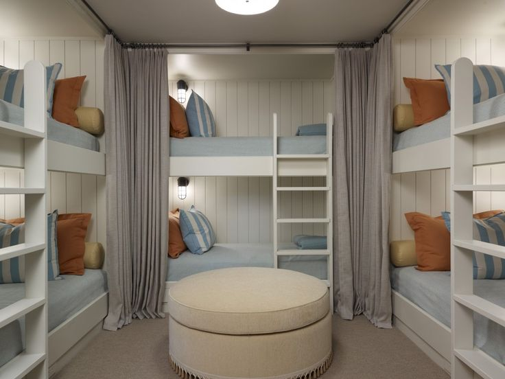 If I ever get a second home...Bunkroom with privacy curtains | The best guest room design ideas for your home! See more inspiring images on our board at http://www.pinterest.com/homedsgnideas/guest-room-design-ideas/