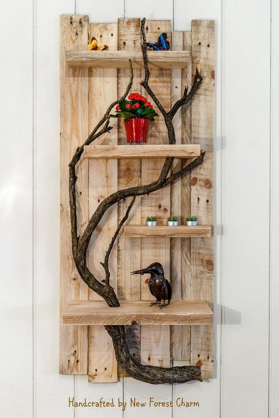 handmade wooden home decor rustic home decor wall art reclaimed pallet shelves wooden home Rustic Home Decor Wooden Wall Art Reclaimed Wood Pallet Shelf | Etsy