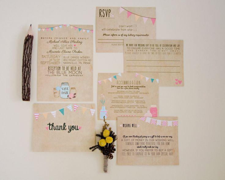 Bruiloft uitnodiging Suite KLUISJE afdrukbare door SplashOfSilver