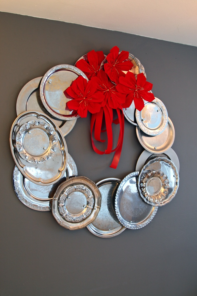 my latest project - repurposed silver tray, inspired by that one floating around Pinterest last xmas from the Bachman Holiday Idea House.