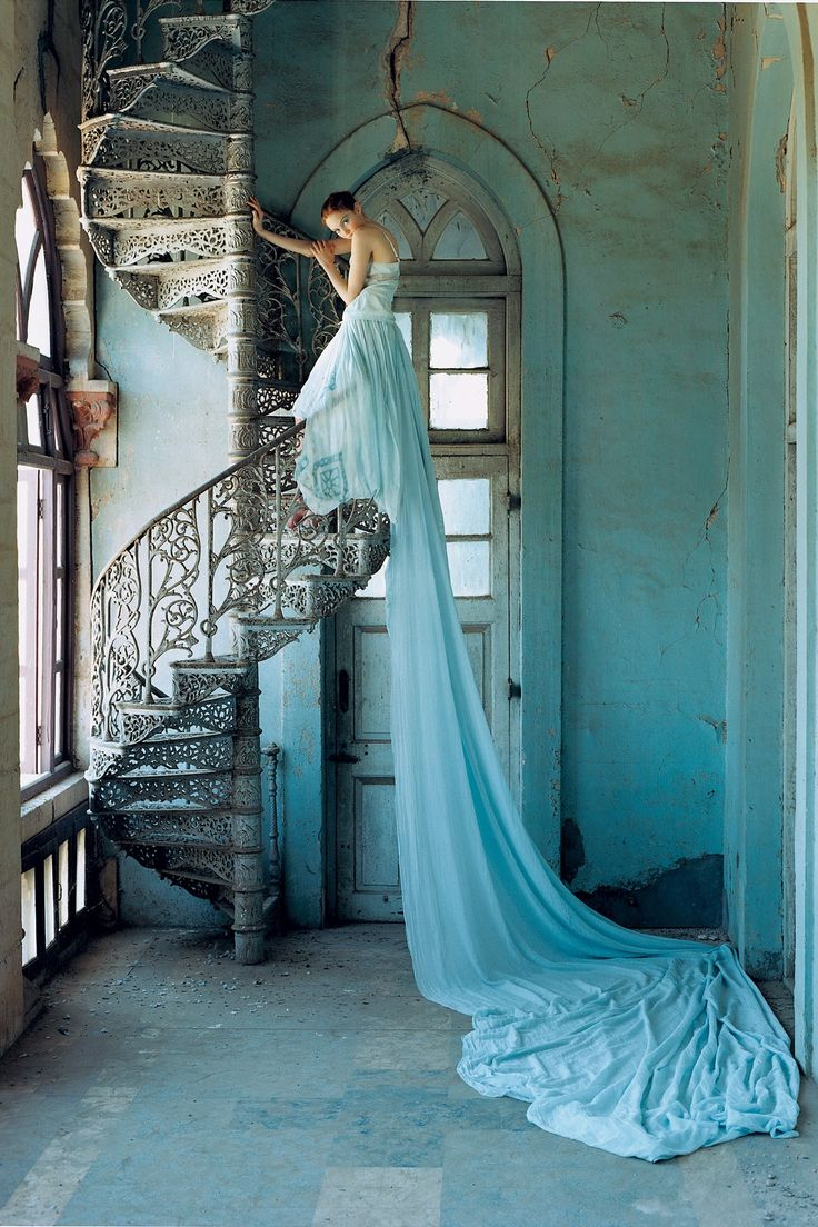 Lily Cole wearing a Stella McCartney gown, shot in Gujarat, India, for the July 2005 issue. Photo By Tim Walker