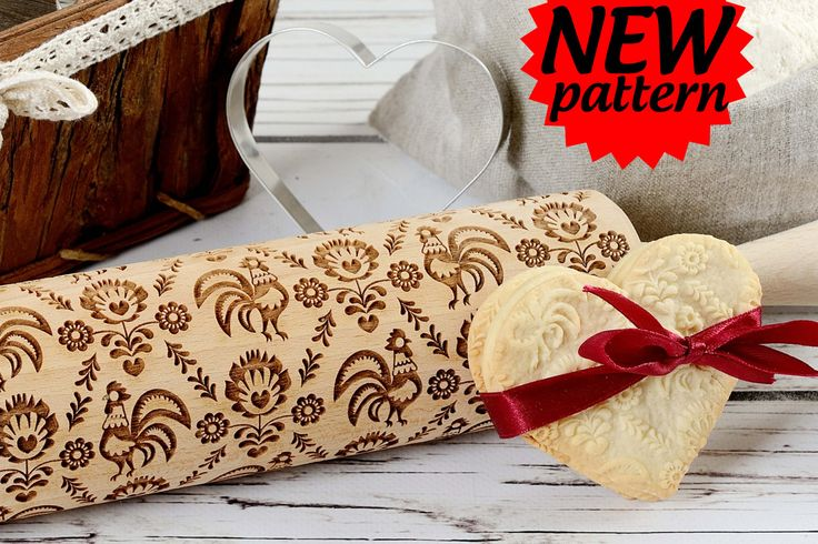 Embossing rolling pin -  Folk pattern with flowers and roosters, Cookies decorating roller, Laser engraved rolling pin by AgnesWorld on Etsy