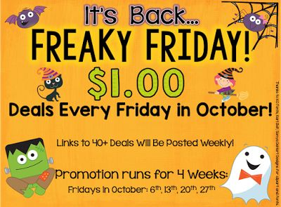 By Popular Demand... Freaky Friday is Back!! Can you believe it is October already?? So scary how quickly time flies! When October arrives so does FREAKY FRIDAY!! Our 4th year running! .....which means 4 weeks of incredible $1 deals on over 40 products each week are on their way! If you have followed me for the past three years you might remember that each October I join a group of sellers to offer $1 Deals each Friday in October! AND...we have decided to 'get freaky' again this year! Here is how it works: Each Friday the participating sellers will select one product from their store (normally priced $3-$5) to mark down to just $1 for the day! How will you find these products? There are a few ways! 1. Click THIS IMAGE to find my deals: 2. Follow this hashtag on INSTAGRAM #freakyfridaypegs 3. Click the links to the participating stores in the LINKY at the end of this post and it will take you directly to that store's $1 deal for the day (it will be updated each week to the new product)! 4. You can also click on the following link - it will bring you to all the $1 DEALS OF THE DAY! So what will you find from me this week? HALLOWEEN WRITING! Have fun at Halloween with this versatile Spooktacular Story Starters Writing Pack full of choice and differentiation there is sure to be just the right challenge for your students! The pack also includes a helpful picture/word spelling mat. This pack is normally $5 but for today only it has been discounted to $1 - so don't miss out! Included in the writing pack: Word Help Mat Sensing Halloween Acrostic Poem Templates x 5 Graphic Organizers x 3 Story Starters x 15 in 2 versions Writing Lines Templates x 6 in both large/small line versions Story Ideas x 10 - to use with above writing templates Bonus Writing Template in Landscape Orientation HALLOWEEN and BOO large display letters for your bulletin board Blackline Version: Print from P77 onwards for a complete copy of this pack. Ready To Find All the $1 Deals for Week 1 of Freaky Friday? The following stores are participating in 'Freaky Friday Dollar Deals' for October 2017. Click on the first link to find ALL the deals of the week or click on each specific store link to find their item of the week! Be sure to check back each Friday in October for the new dollar deals! Linky coming soon! Thank you for your patience! Freaky Friday Halloween