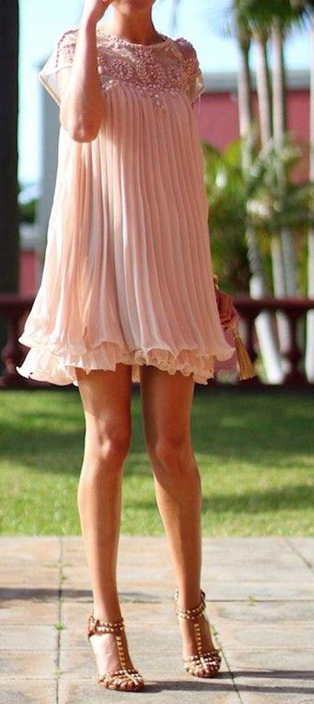 Apricot Pink Plain Beading Pleated Cap Sleeve Chiffon Dress - Dresses