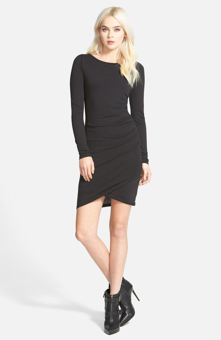 In Black - XL - Leith Ruched Long Sleeve Dress (Nordstrom Online Exclusive)