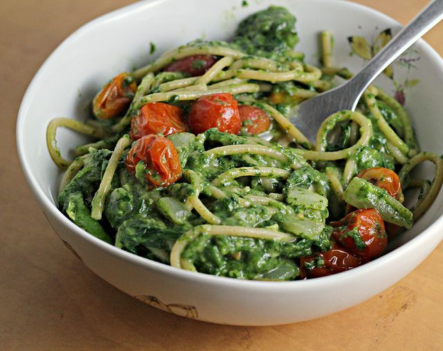 creamy avocado spinach spaghetti with roasted tomatoes. made this tonight and it was amazingly good and easy. a definite favorite.