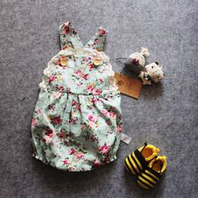 MQ Merken Rose Bloemen Gedrukt Katoen Baby Zomer Rompertjes Vintage Meisje Romper Lace Bloemen Overalls Babykleertjes 1-3years(China (Mainland))
