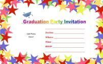 Colorful star design template free printable graduation invitations