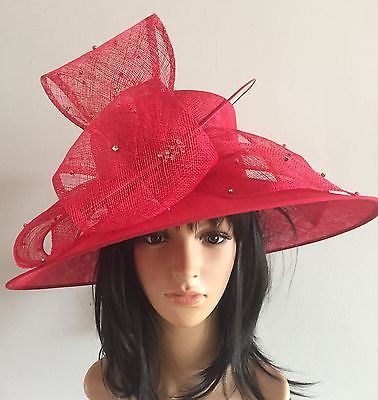 NEW POPPY RED WEDDING ASCOT HAT FORMAL OCCASION MOTHER OF THE BRIDE DIAMONTE