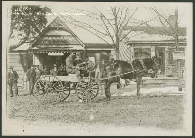 Post office and barber shop in Georgetown, Indiana