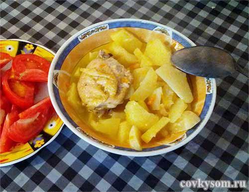 Тушеный картофель с курицей, простой рецепт вкуснейшего блюда