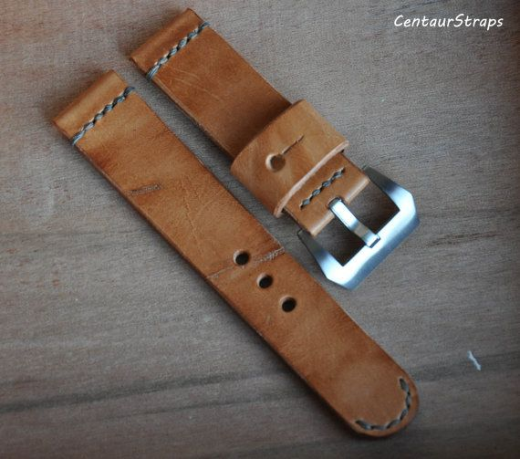 24mm watch band  Handmade vegetable tanned by CentaurStraps