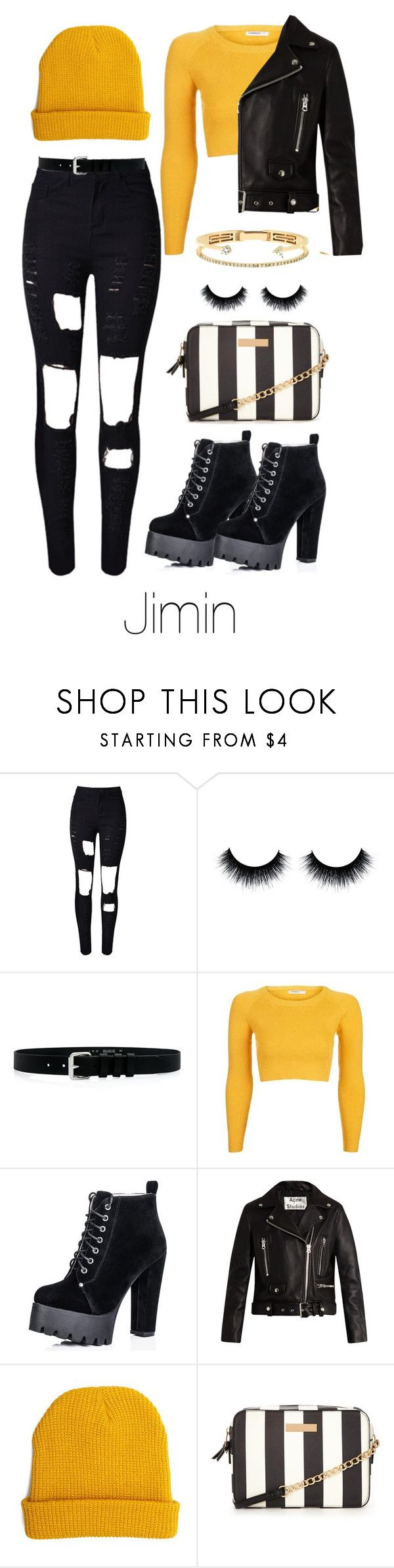 """""""Night out with Jimin 🌅✖️"""" by ari2sk ❤ liked on Polyvore featuring WithChic, IRO, Topshop, Acne Studios, 21 Men and Delfina Delettrez"""