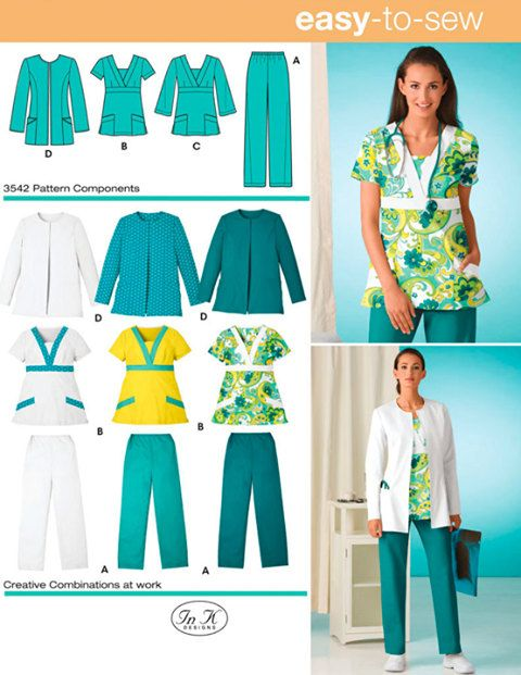 SCRUBS Sewing Pattern - Easy Scrub Tops Pants Hats Caps - OOP