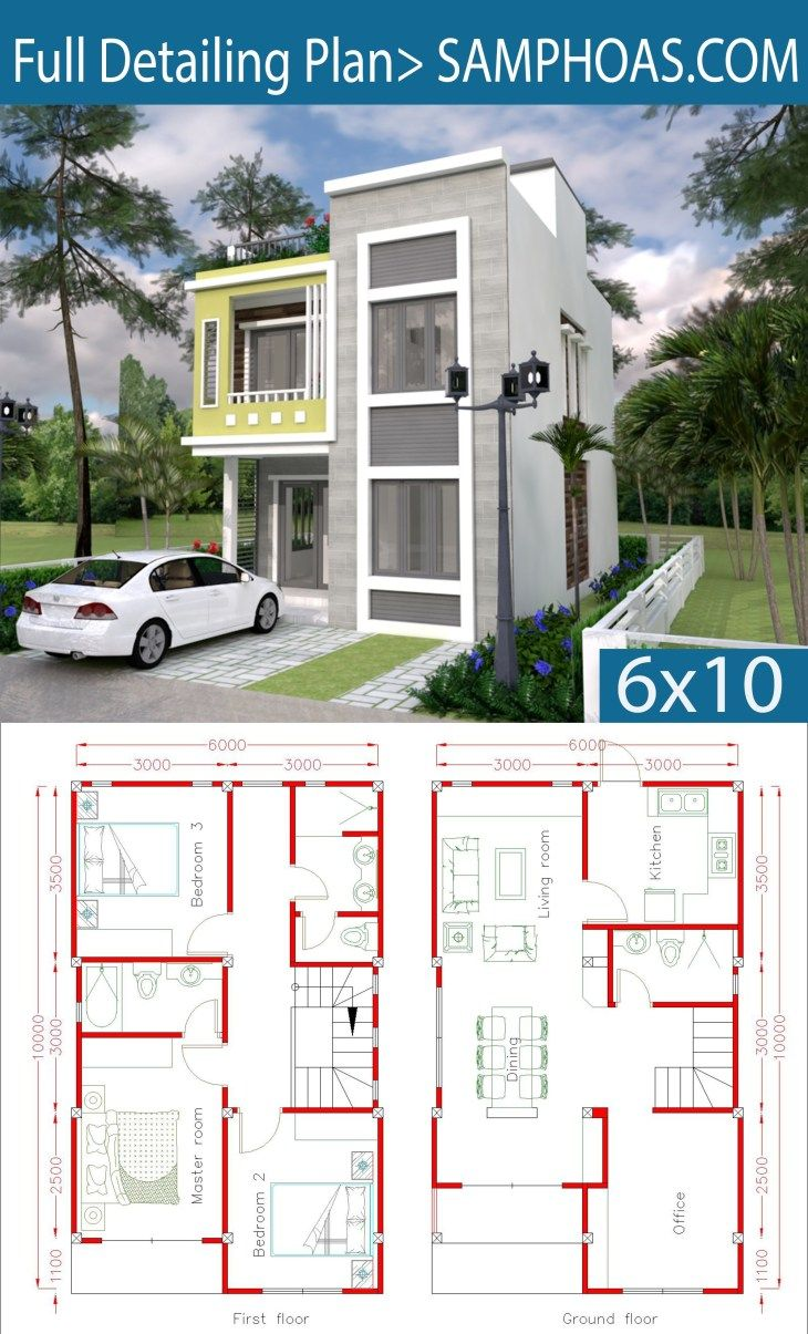 Home Design Plan 6x10m With 3 Bedrooms Samphoas Com Duplex House Plans House Plans Home Design Plan