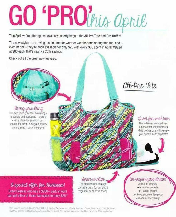 the NEW ALL PRO TOTE is ONLY AVAILABLE APRIL 2014 & Regularly $80 But You can get it for ONLY $25 when you spend just $35!!   ORDER YOURS TODAY BEFORE THEY ARE GONE!! https://www.mythirtyone.com/331542/