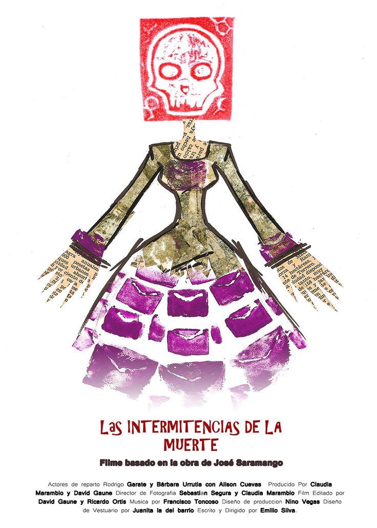 """Proyecto afiche """"Las Intermitencias de la Muerte"""". Vitalia Campos."""