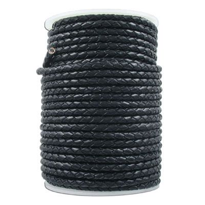 Braided leather cord black, 4mm diameter, 25 meters. (SKU# TTBR4MM/BLK). Sold per pack of 1 spool(s).