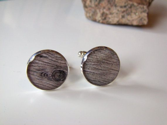 Dark Wood Styled Cufflinks Silver Plated Free UK by LiteratoShop, £15.00