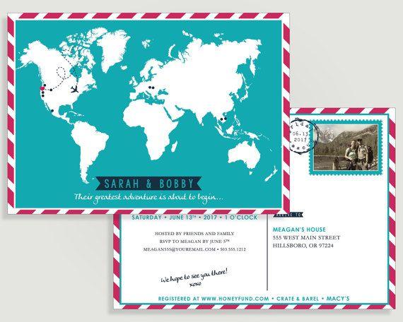 Honeymoon Shower Invitation Custom Map Personalized