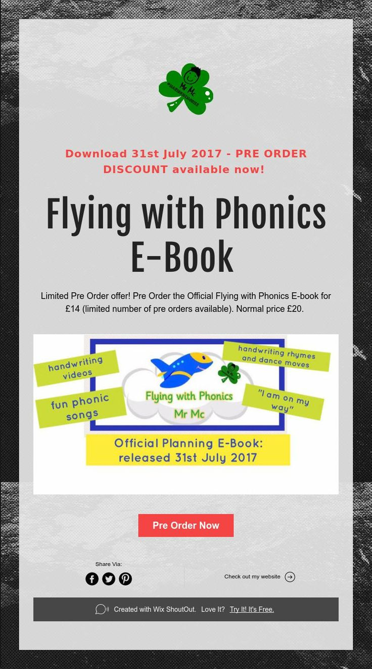 Download 31st July 2017 - PRE ORDER DISCOUNT available now!      Flying with Phonics  E-Book