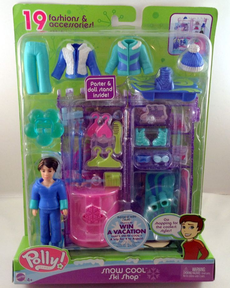 Polly Pocket Snow Cool Ski Shop Fashions And Accessories Poster Doll Stand New #PollyPocket