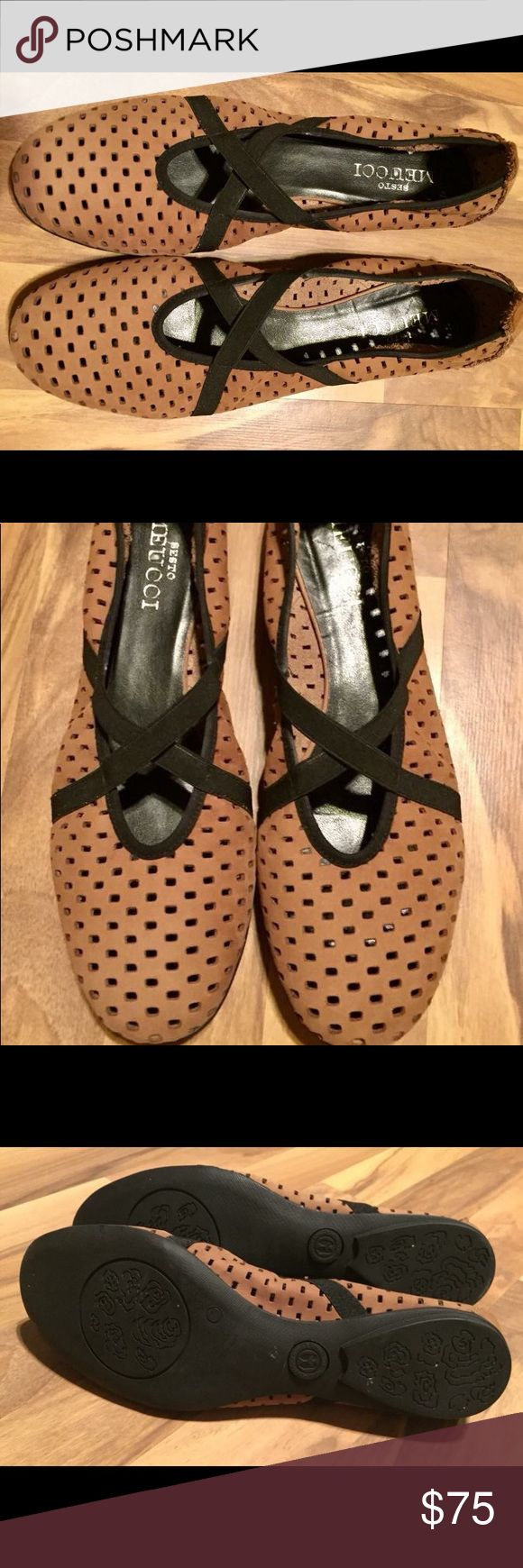 Pair of Sesto Meucci ladies shoes (SZ 8) worn 1x Light brown(camel color) suede with black...these are adorable, comfortable, high quality shoes that are basically brand new. Retail for $200. Worn one time for a few hours. True to size. Sesto Meucci Shoes Flats & Loafers