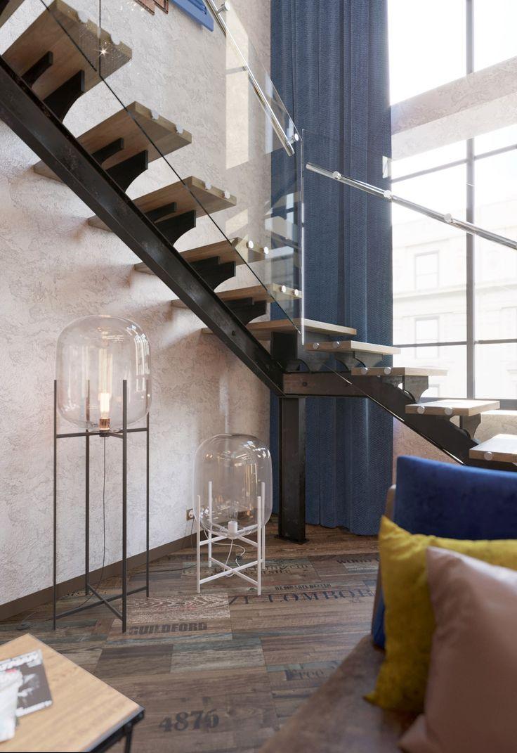Лестница ведущая на второй этаж и террасу на крыше