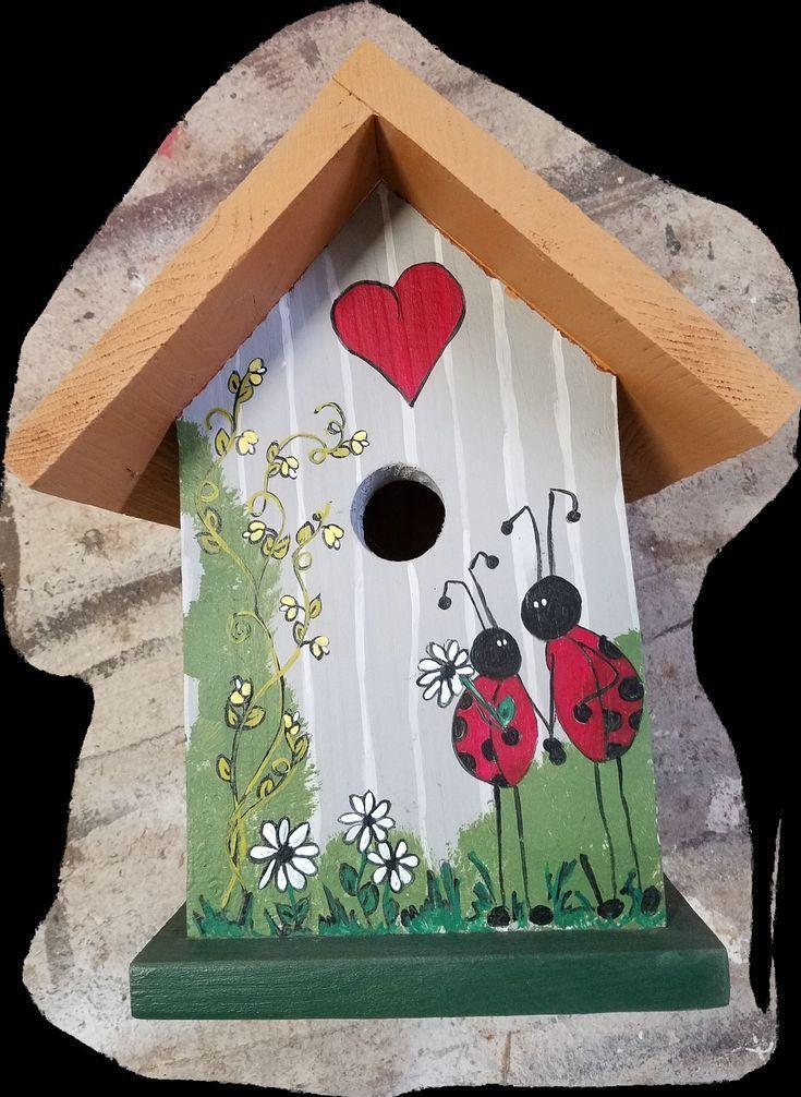 Birdhouse Deko Idee Liebe Marienkafe Marienkafer Marienkafer Birdhouse Liebe Es Deko Idee Deko Idee Li Vogelhaus Bemalte Hauser Vogelhaus Bemalen