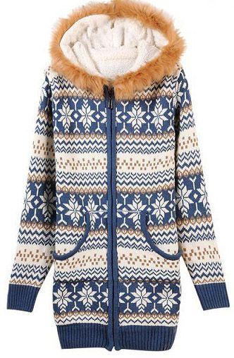 Veste tricotée à capuchon -Bleu 30€