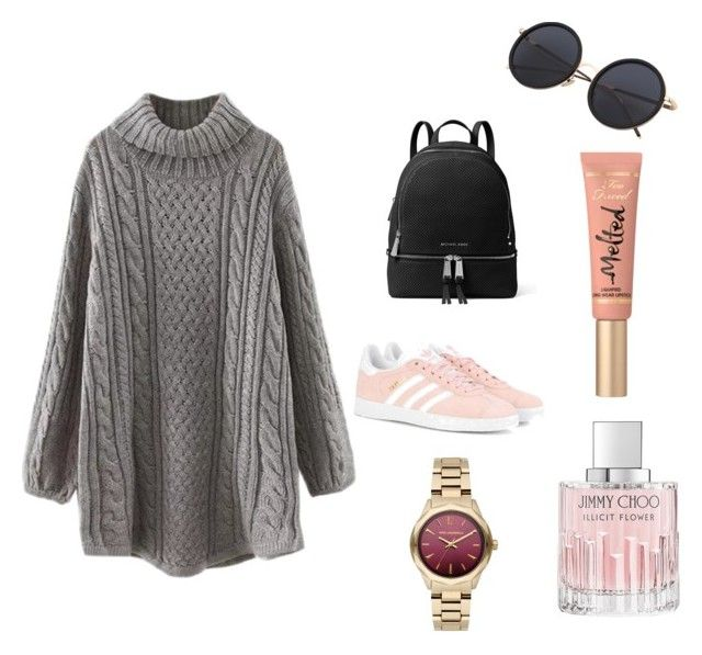 """Untitled #19"" by evachrisomalli-1 on Polyvore featuring adidas Originals, MICHAEL Michael Kors, Too Faced Cosmetics, Jimmy Choo and Karl Lagerfeld"