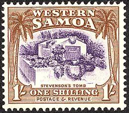 #RLS Robert Louis Stevenson on stamp of Samoa 1935