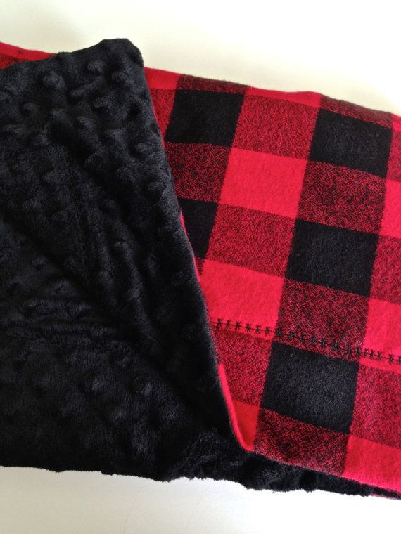 Baby Blanket / Black and Red Buffalo Check by CharleyCharlesShop