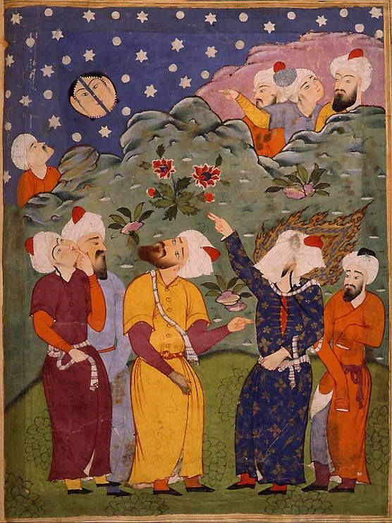 """'Mohammed Splits the Moon', illustration taken from a """"Falnameh,"""" a sixteenth century Persian book of prophesies. Artist unknown; watercolor painting; Mohammed is the veiled figure on the right. Currently housed in The Saxon State Library, Dresden, Germany, part of an exhibition that was displayed at The Library of Congress in 1996. (Mongol, Orange right-hand side next to The Prophet)"""