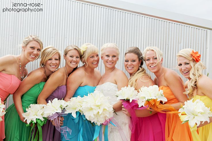 Bright Coloured Bridesmaid Dresses: 17 Best Ideas About Rainbow Bridesmaids On Pinterest