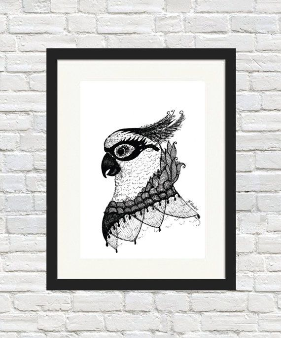Miss Cockatoo Sketch Print by BronwynHoustonArt on Etsy